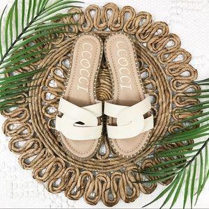 CCOCCI White Woven Strap Sandals